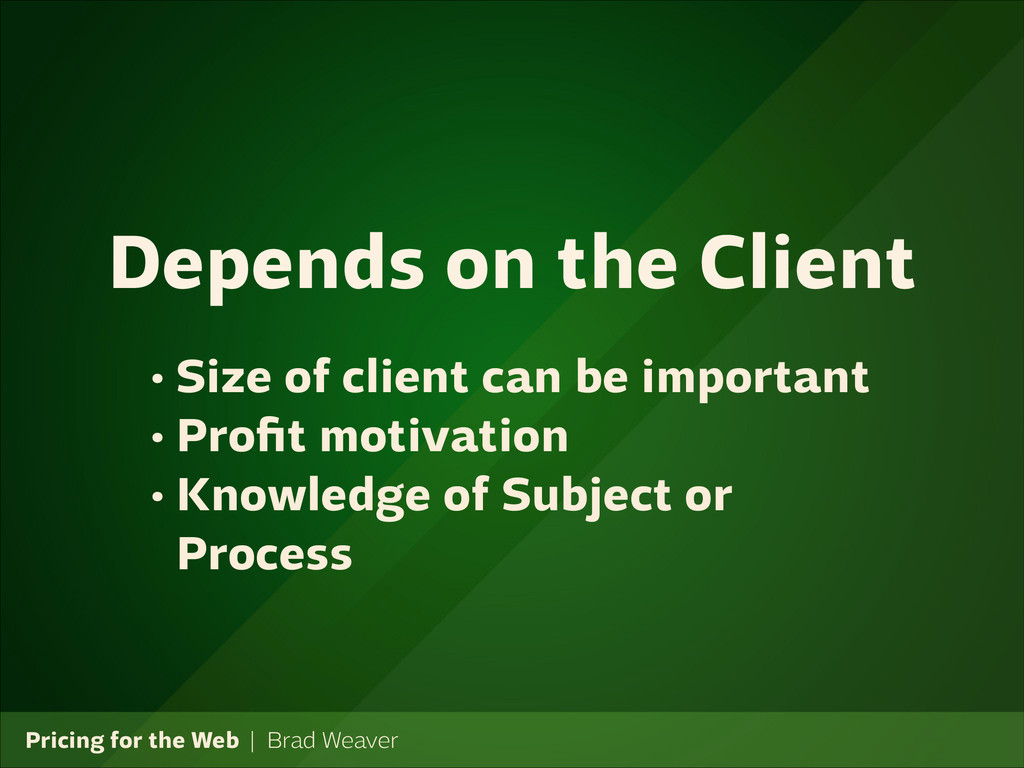 Pricing for the Web   Brad Weaver • Size of cli...