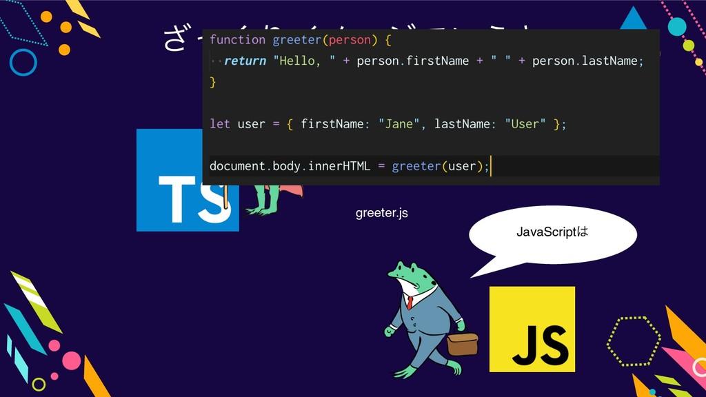 ͬ͘͟ΓΠϝʔδͰ͍͏ͱ JavaScript greeter.js