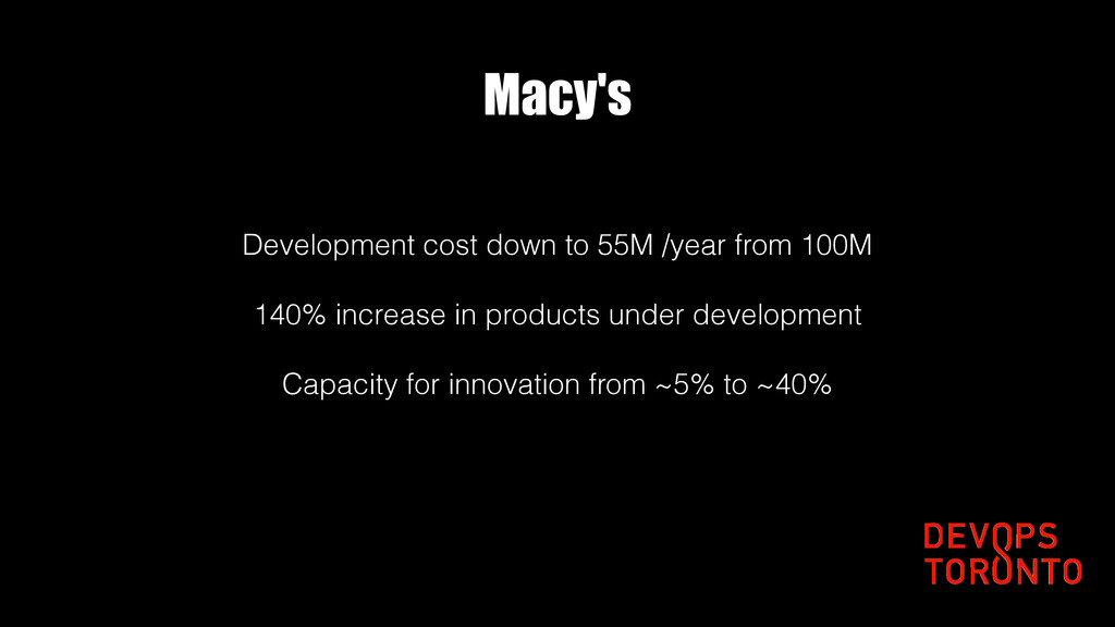 Macy's Development cost down to 55M /year from ...