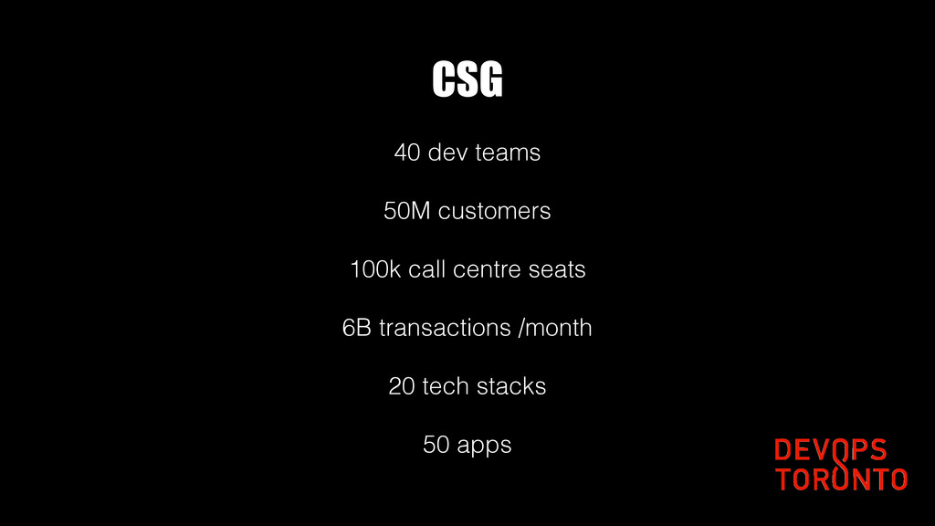 CSG 40 dev teams 50M customers 100k call centre...