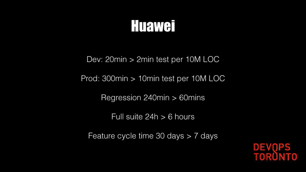 Huawei Dev: 20min > 2min test per 10M LOC Prod:...