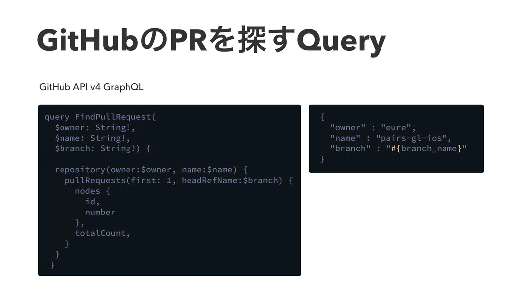 GitHubͷPRΛ୳͢Query query FindPullRequest( $owner...