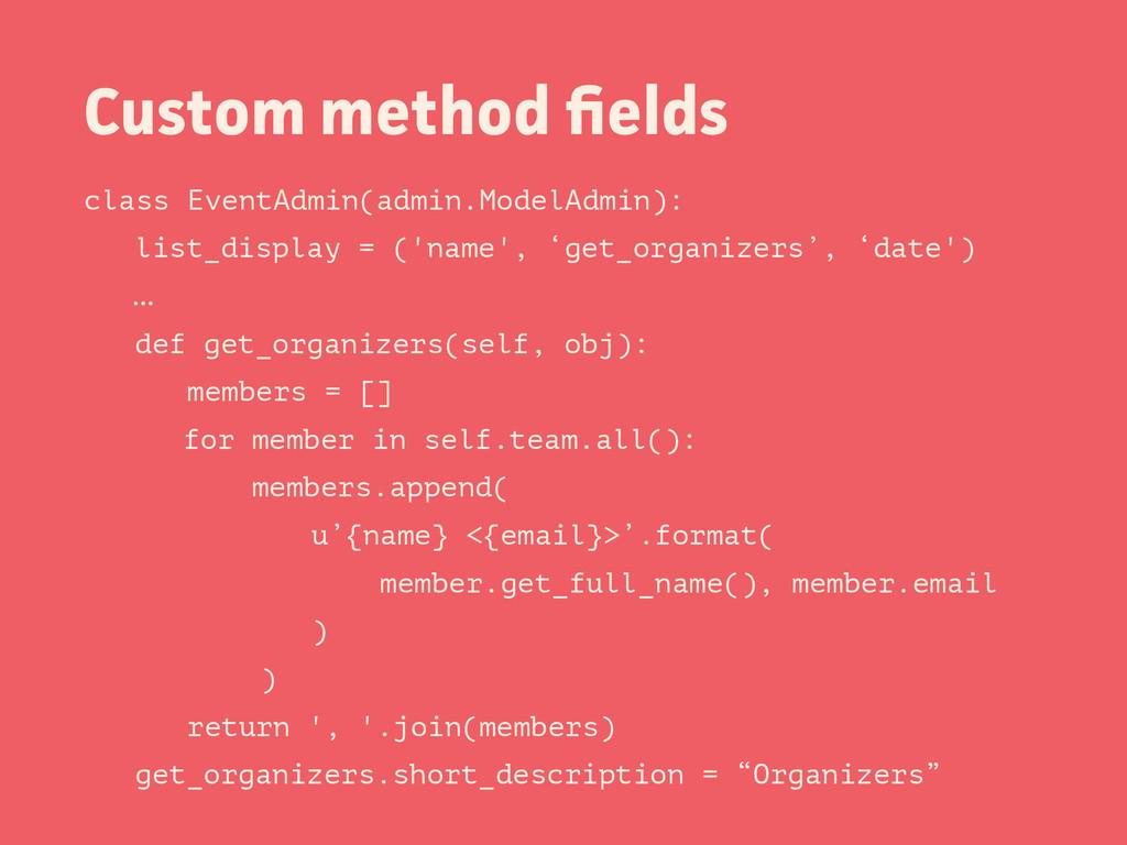 Custom method fields class EventAdmin(admin.Mode...