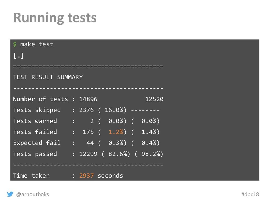 @arnoutboks #dpc18 Running tests $ make test […...
