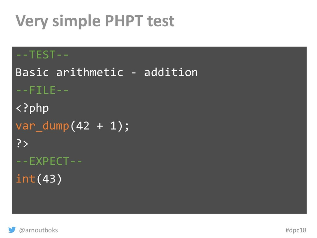 @arnoutboks #dpc18 Very simple PHPT test --TEST...