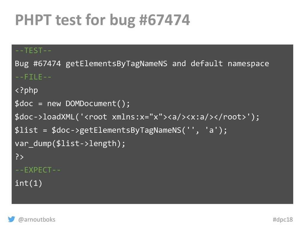 @arnoutboks #dpc18 PHPT test for bug #67474 --T...