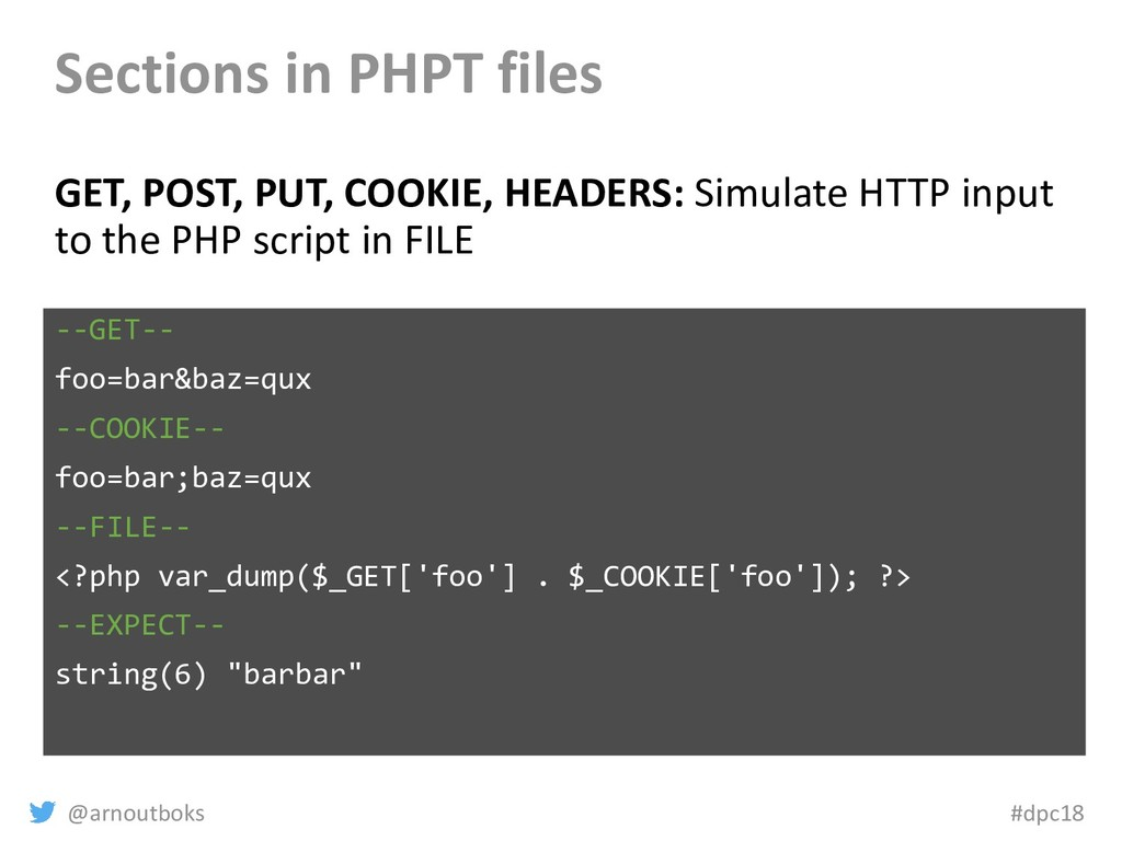 @arnoutboks #dpc18 Sections in PHPT files GET, ...