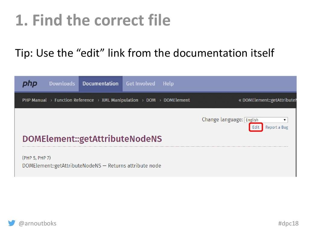 @arnoutboks #dpc18 1. Find the correct file Tip...