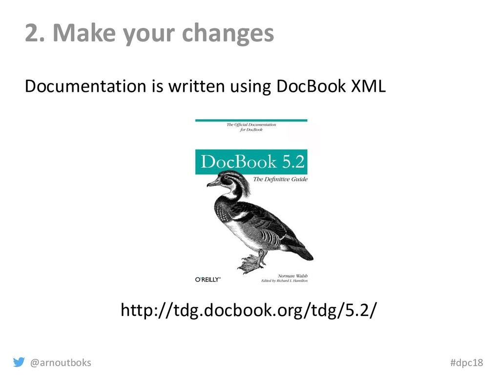 @arnoutboks #dpc18 2. Make your changes Documen...