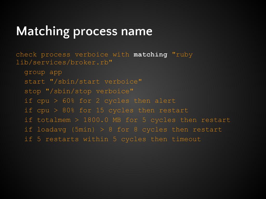 Matching process name check process verboice wi...