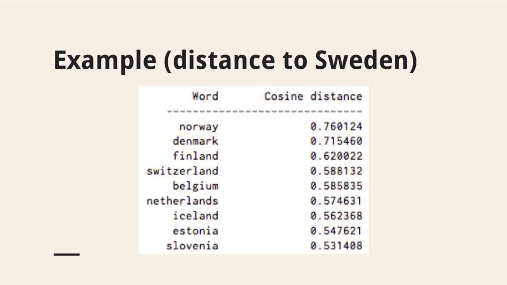 Example (distance to Sweden)