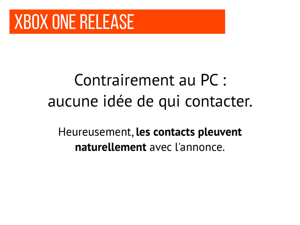 Xbox one release Contrairement au PC : aucune i...