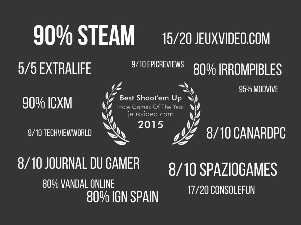 90% Steam 15/20 JeuxVideo.com 5/5 Extralife 8/1...