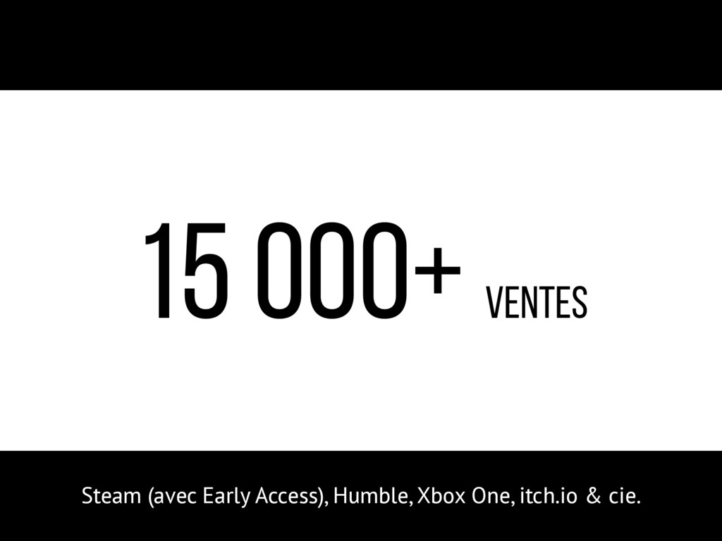 15 000+ ventes Steam (avec Early Access), Humbl...
