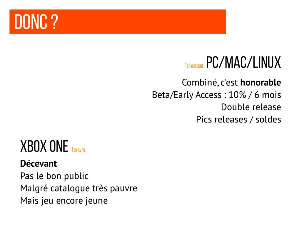 Donc ? 1er octobre Pc/mac/linux XBOx One 1er Av...