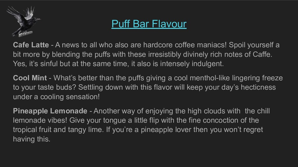 Puff Bar Flavour Cafe Latte - A news to all who...