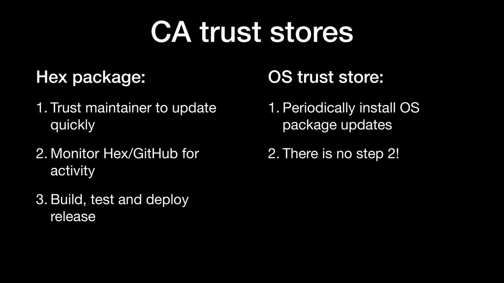 OS trust store: 1. Periodically install OS pack...