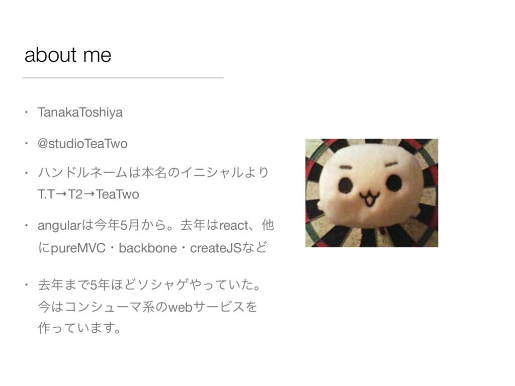 about me • TanakaToshiya  • @studioTeaTwo  • ϋϯ...