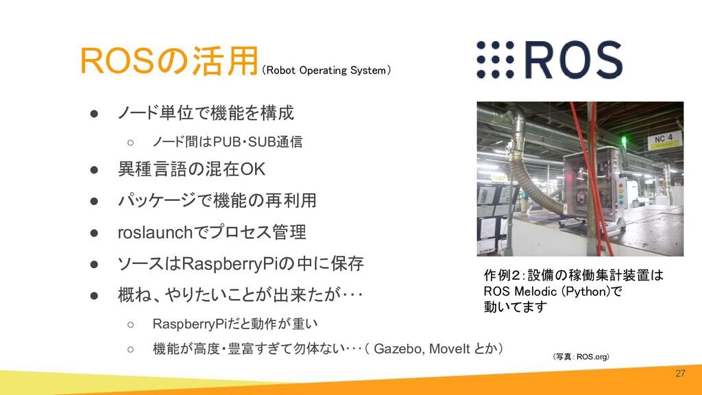 ROSの活用 ● ノード単位で機能を構成 ○ ノード間はPUB・SUB通信 ● 異種言語の混在...