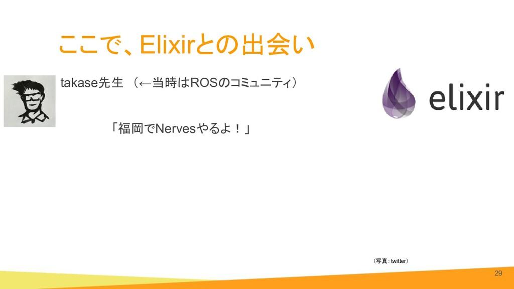 ここで、Elixirとの出会い takase先生 (←当時はROSのコミュニティ) 「福岡でN...
