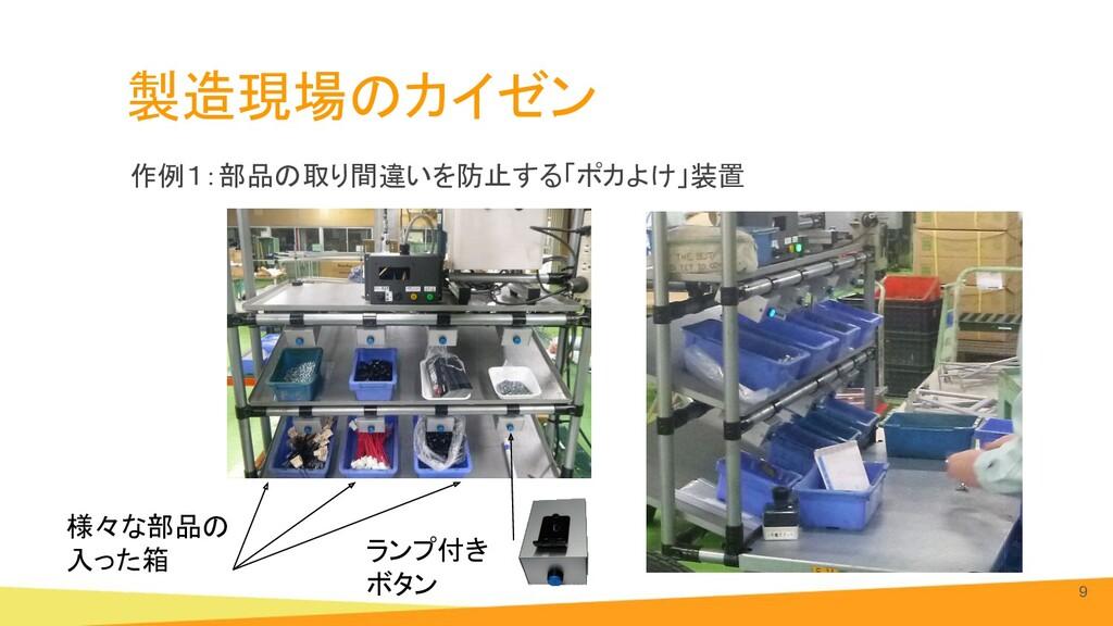 製造現場のカイゼン 9 ランプ付き ボタン 様々な部品の 入った箱 作例1:部品の取り...