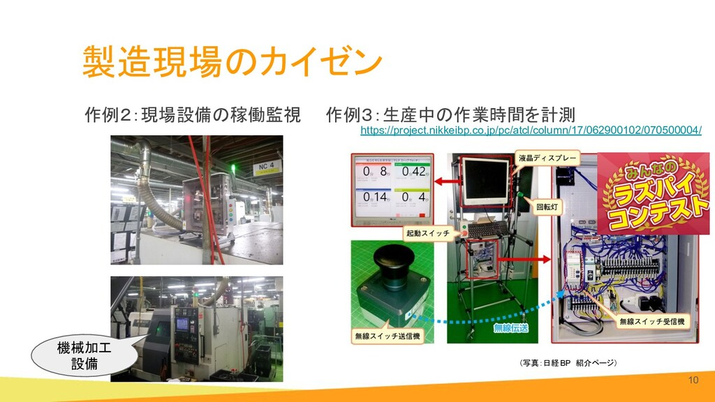 製造現場のカイゼン 作例2:現場設備の稼働監視  作例3:生産中の作業時間を計測 10 (写真...