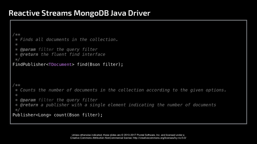 Reactive Streams MongoDB Java Driver Unless oth...