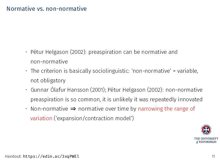 Normative vs. non-normative • Pétur Helgason (2...