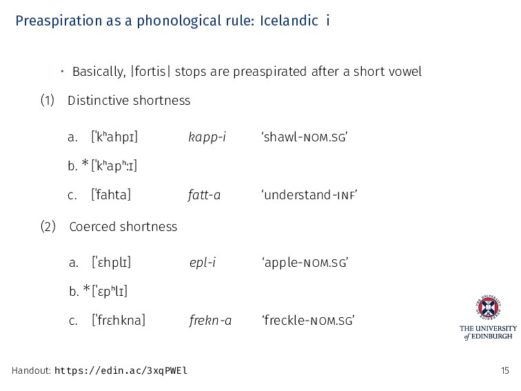 Preaspiration as a phonological rule: Icelandic...