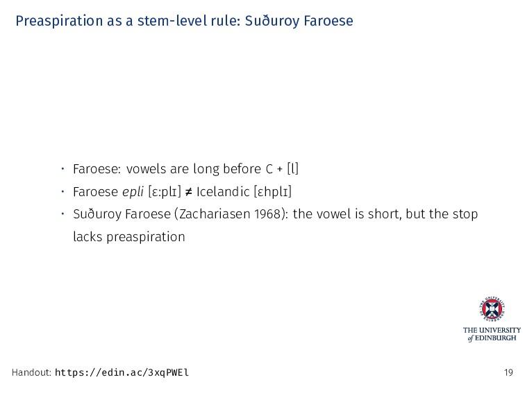Preaspiration as a stem-level rule: Suðuroy Far...