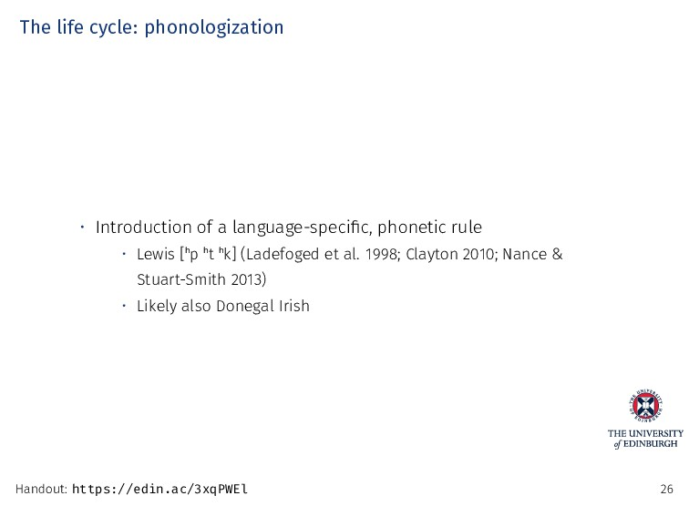 The life cycle: phonologization • Introduction ...