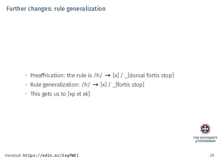 Further changes: rule generalization • Preaffri...