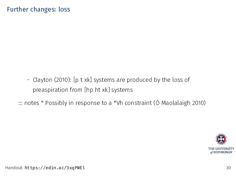 Further changes: loss • Clayton (2010): [p t xk...