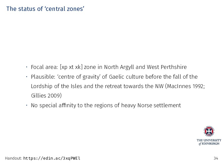 The status of 'central zones' • Focal area: [xp...