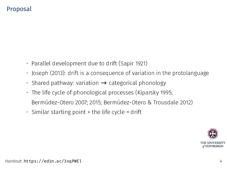 Proposal • Parallel development due to drift (S...