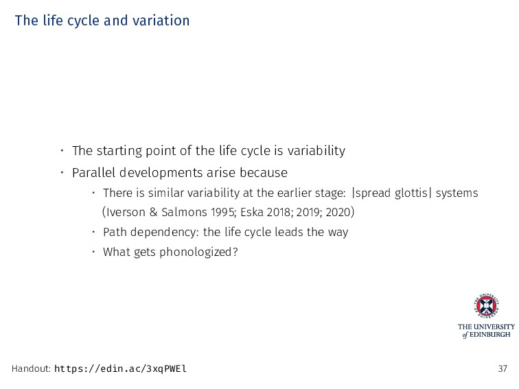 The life cycle and variation • The starting poi...