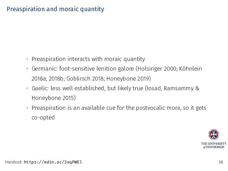Preaspiration and moraic quantity • Preaspirati...