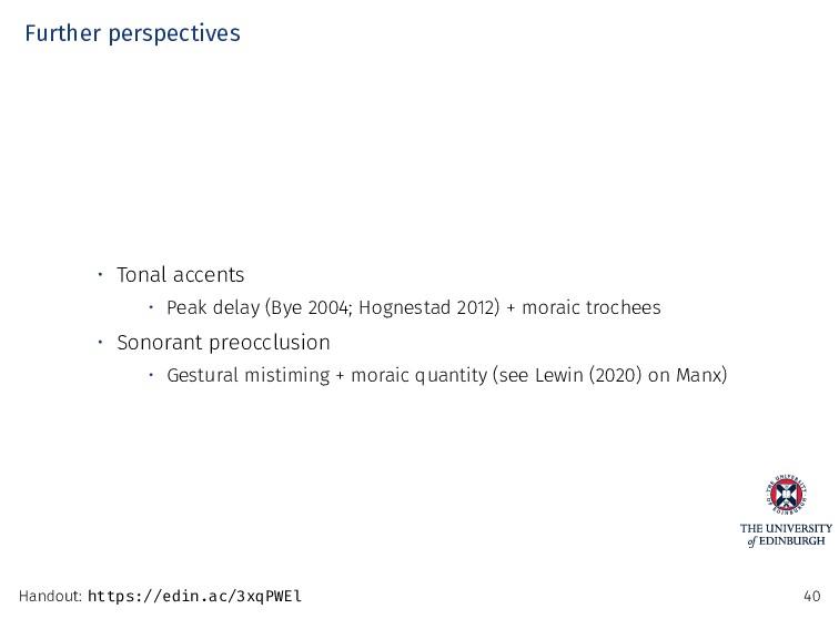 Further perspectives • Tonal accents • Peak del...