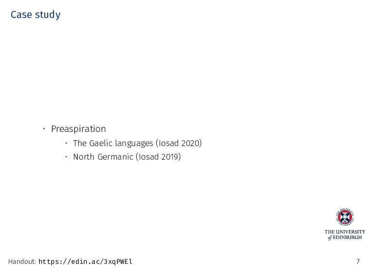 Case study • Preaspiration • The Gaelic languag...