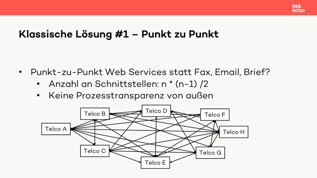 • Punkt-zu-Punkt Web Services statt Fax, Email,...