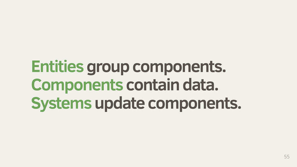 Entities group components. Components contain d...