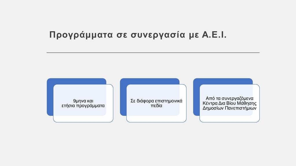 Προγράμματα σε συνεργασία με Α.Ε.Ι. 9μηνα και ε...