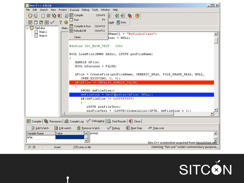 Dev-C++ screenshot acquired from bloodshed.net,...