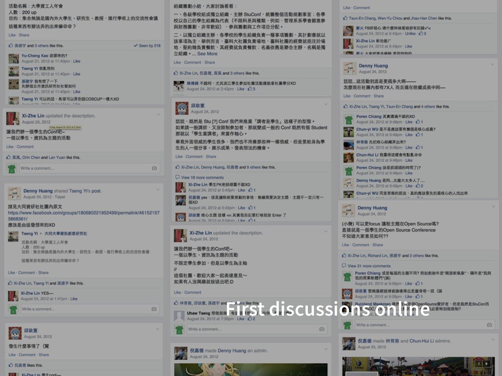 First discussions online