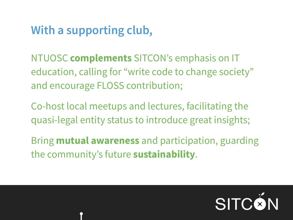 With a supporting club, NTUOSC complements SITC...
