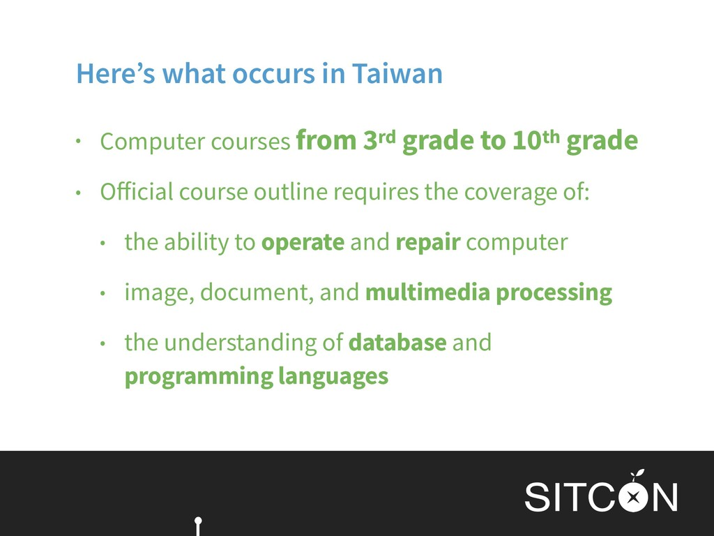 Here's what occurs in Taiwan • Computer courses...