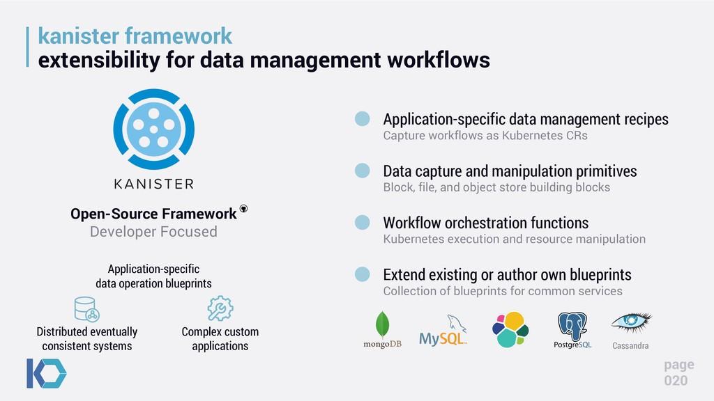 kanister framework extensibility for data manag...