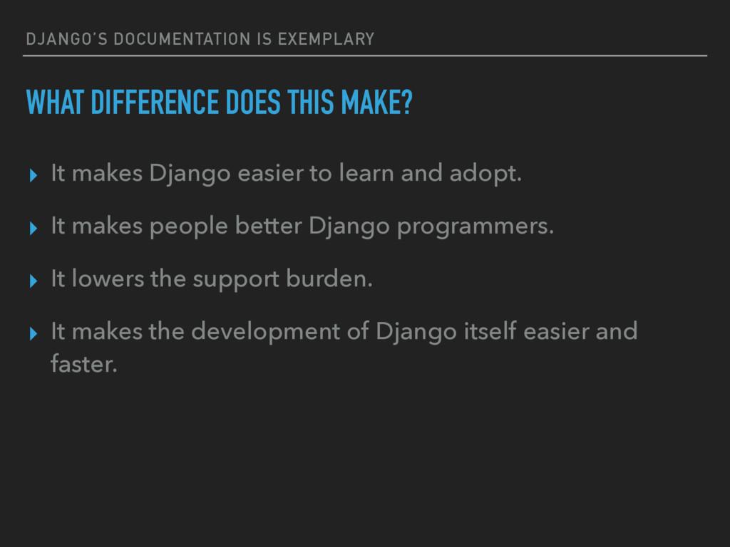 DJANGO'S DOCUMENTATION IS EXEMPLARY WHAT DIFFER...