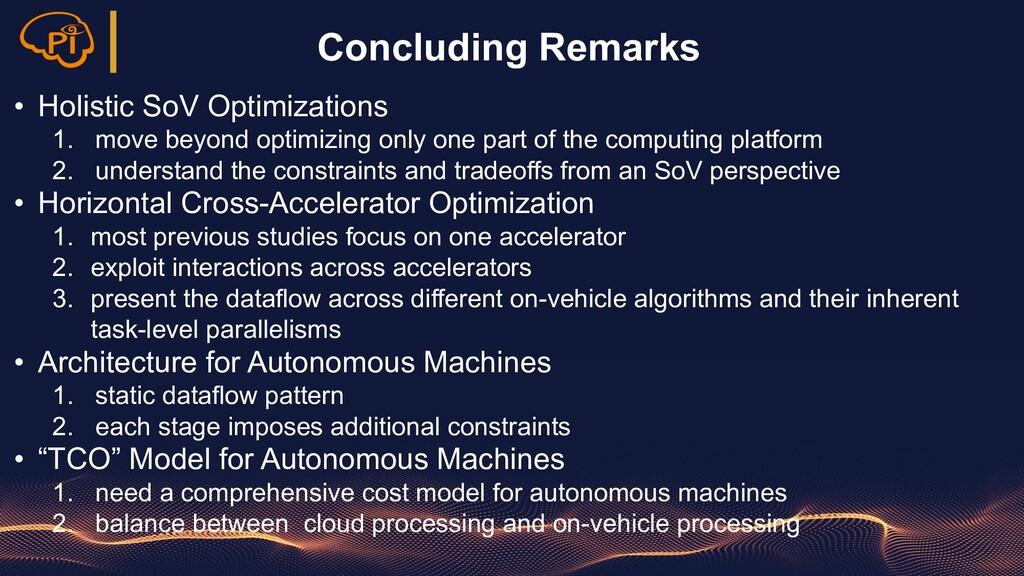 Concluding Remarks • Holistic SoV Optimizations...