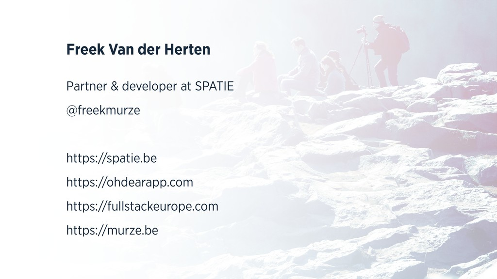 Freek Van der Herten Partner & developer at SPA...